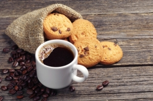 chocolate chips and coffee